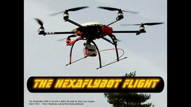The HexaFlyBot UAV fly with a GoPro HD wide