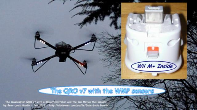 QRO v7 Maiden flight with a Wii Motion Plus and a KKmulticontroller type board