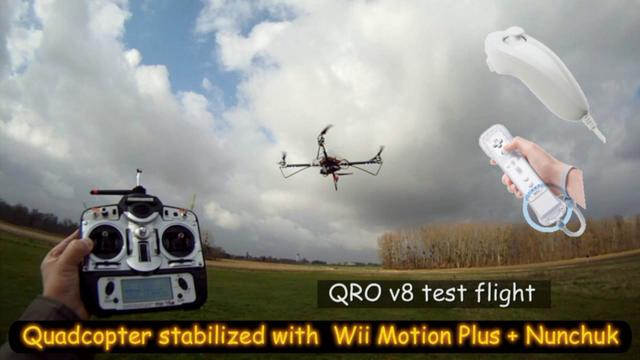 Quadcopter stabilized by the Wii Motion Plus and Nunchuk sensors and a FCWii board.