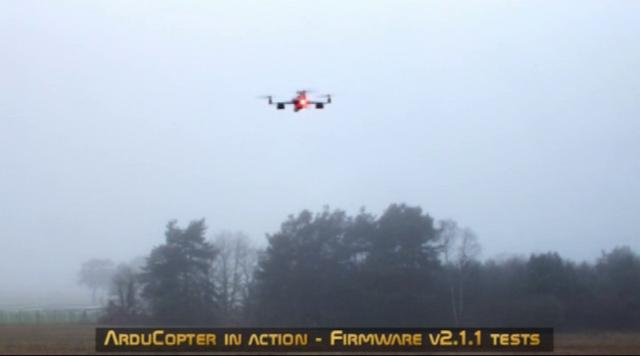 ArduCopter firmware v2.1.1 test flight with the Quad Rotor Observer (QRO)
