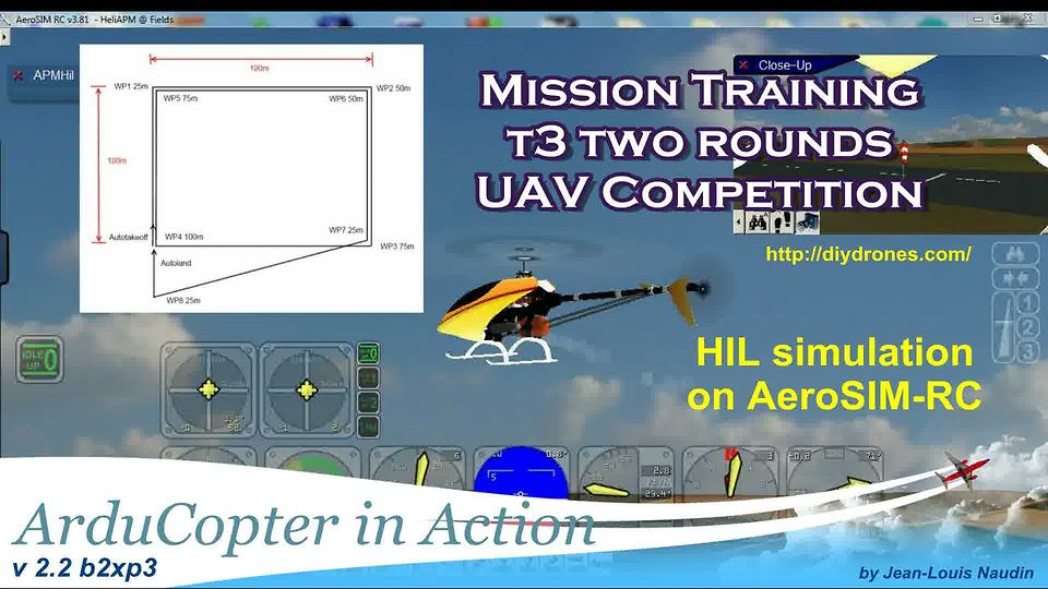 ArduCopter v2.2 b2xp3 - T3 Two rounds UAV competition mission training