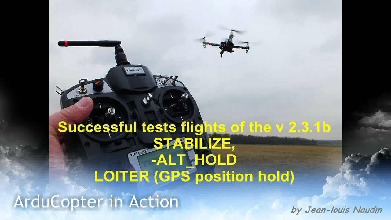 ArduCopter v2.3.1 firmware: Full LOITER (GPS position hold) tests flights