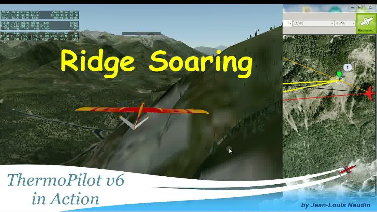 Ridge Soaring with the ThermoPilot v6.4 mode (HIL simulation)
