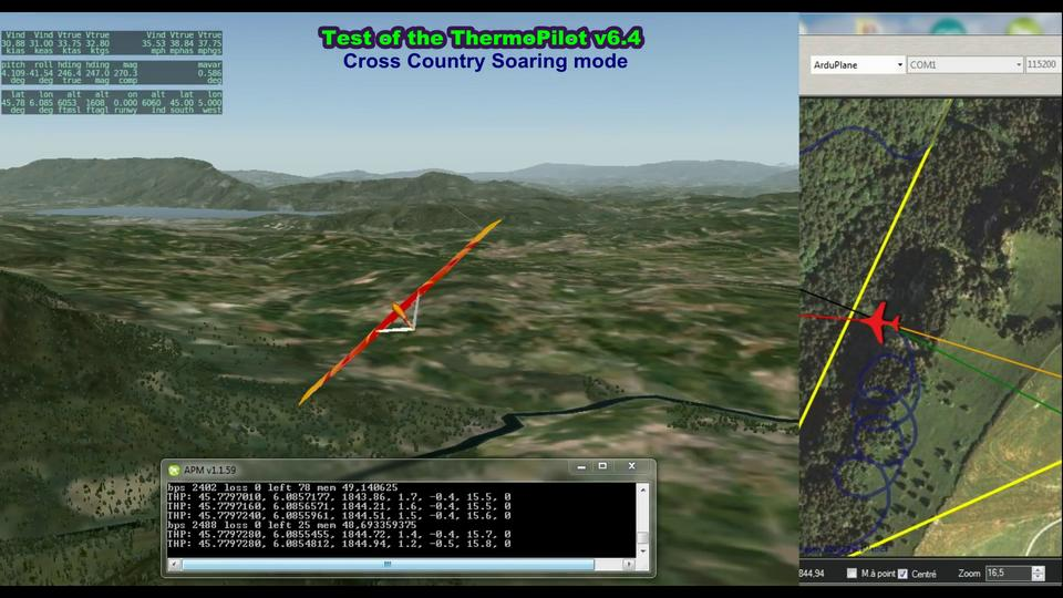 ThermoPilot v6.4 test flight in Cross-Country Soaring mode (HIL simulation)