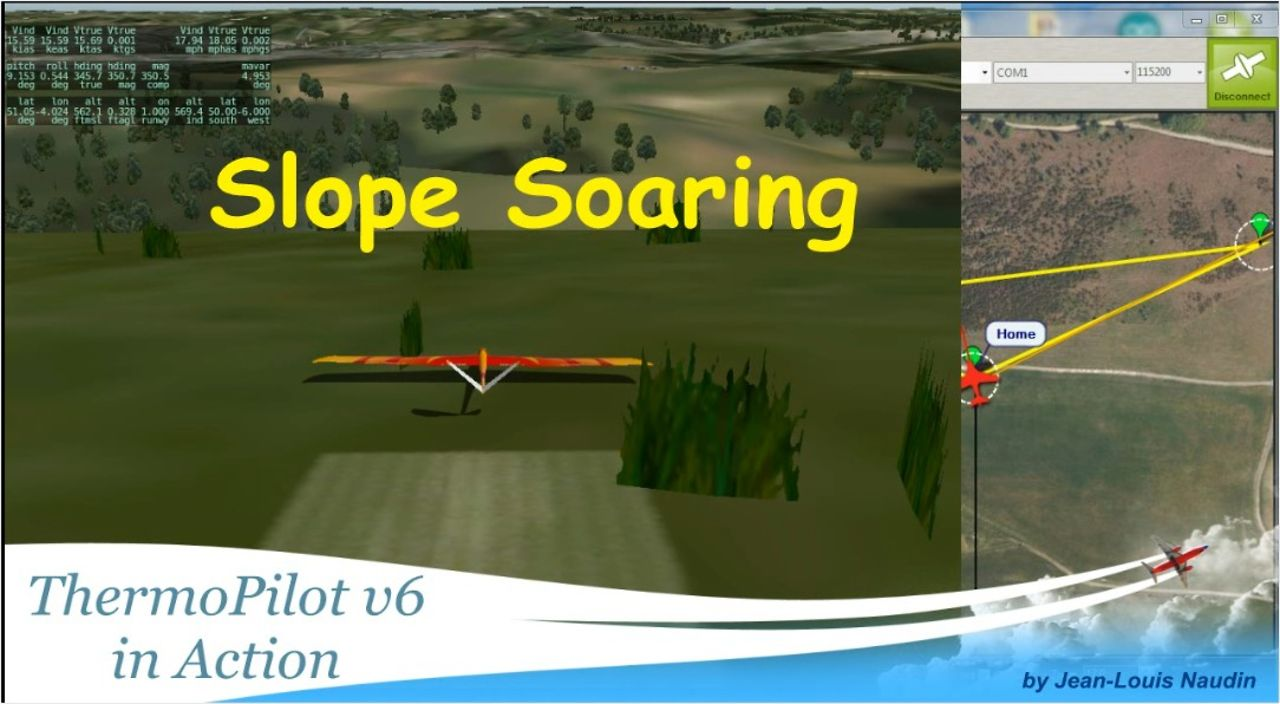 Slope Soaring with the ThermoPilot v6.4 (HIL simulation)