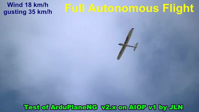 Full autonomous flight with ArduPlaneNG v2 with a All In One Pro (AIOP) full IMU board