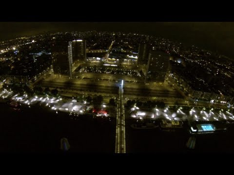 FPV Flying over Paris 13 by night GoPro 3 Black on nano hexacopter very smooth