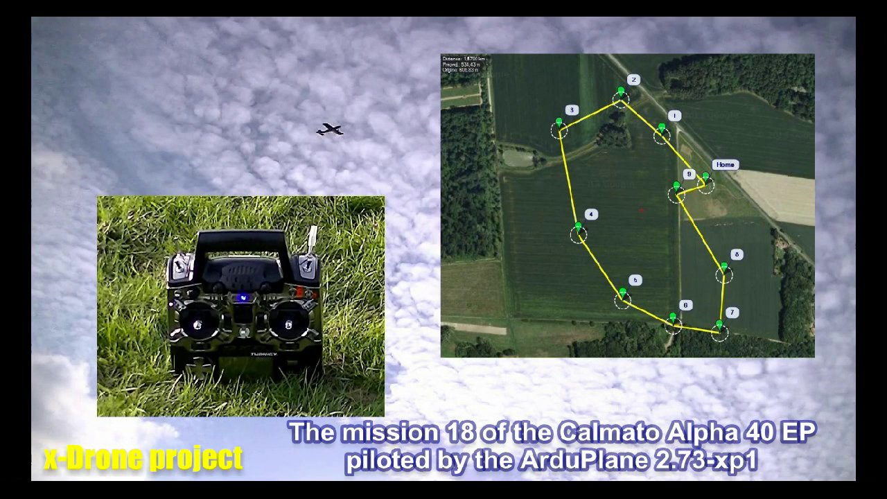 Calmato Mission #18: Autonomous Landing pattern training with the Arduplane v2.73-xp1