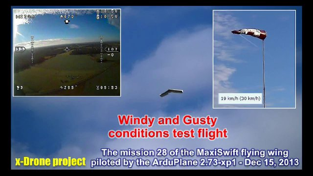 Windy and Gusty autonomous mission #28 with the MaxiSwift piloted by ArduPlane v2.73-xp1