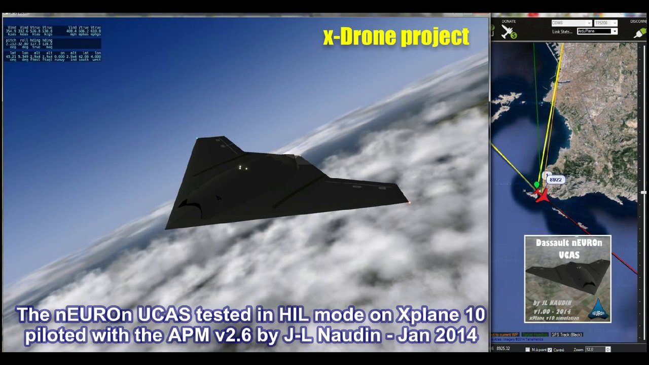 The Dassault nEUROn UCAS tested in HIL mode with the APM v2.6 on Xplane v10