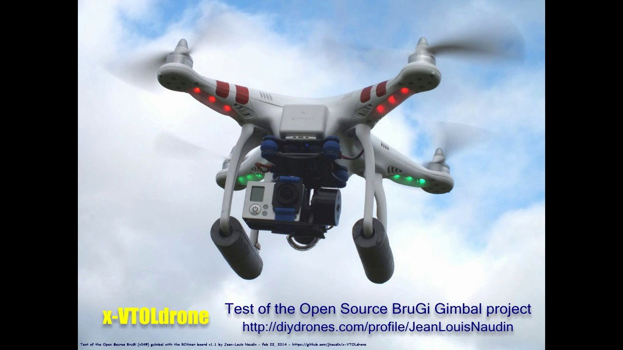 Test of the Open Source BruGi gimbal with a GoPro 3 mounted on a DJI Phantom