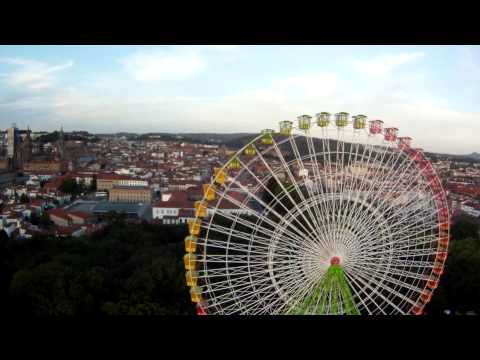 Flying over the big wheel of Santiago de Compostela
