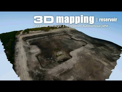 Aerial 3D mapping - Reservoir area using UAV Drifter ultralight on APM