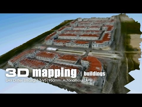 Aerial 3D mapping - Building area using UAV Drifter ultralight on APM