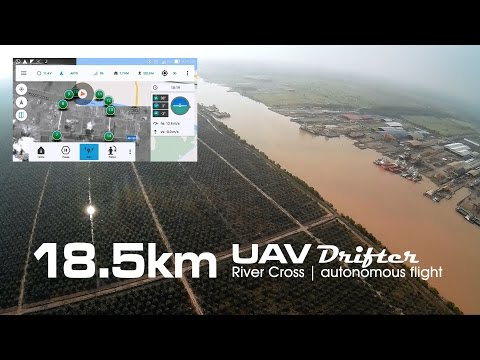 18.5km River cross, UAV drone - Drifter ultralight