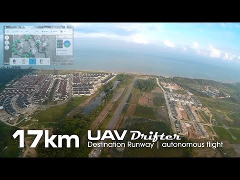 17km Destination Runway mission, UAV drone - Drifter ultralight