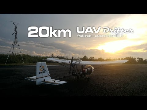 20km Wetlands mission, UAV drone - Drifter ultralight