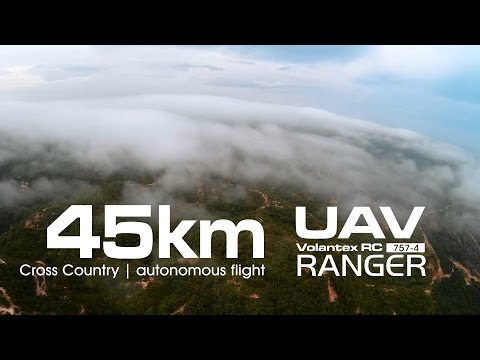 45km Cross Country - UAV Volantex RANGER 757-4 using Li-On (LG MJ1 18650)