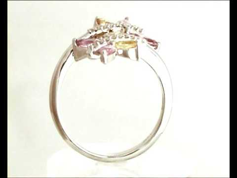 Pink and Yellow Sapphire Butterfly Ring in 4k White Gold