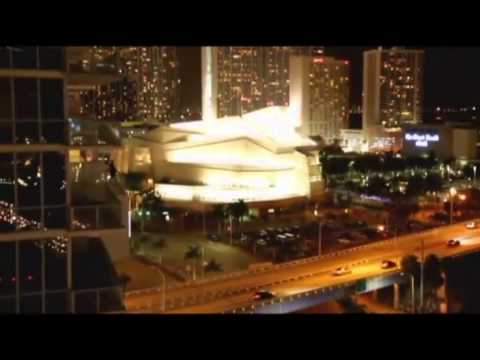 Machine gun fire from military helicopters flying over downtown Miami Fl.
