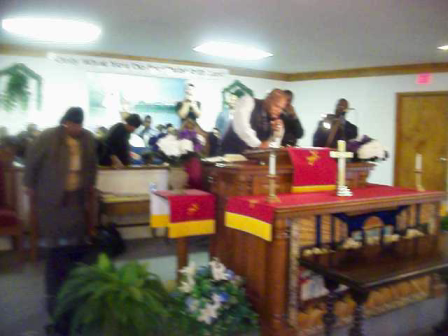 Minister Derrick Williams preaching