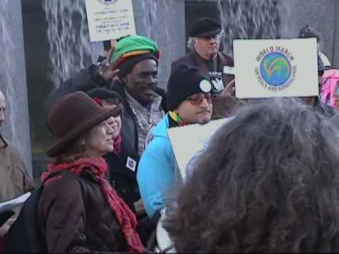 World Peace March Steps Up to the Tree of Hope in SF