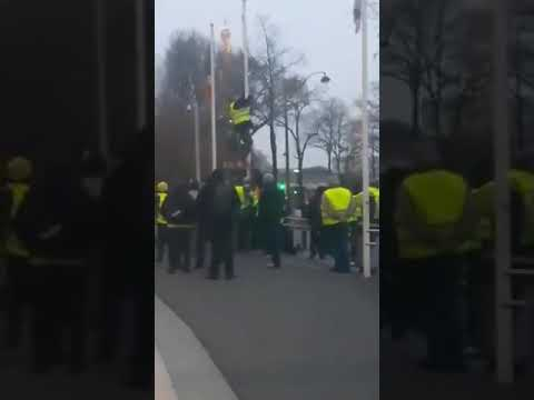 French yellow vest protesters tear down EU flag
