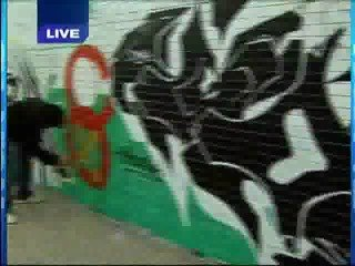 Last Years Cubs/Sox mural on WGN.