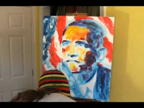 Obama Time Lapse Painting by Artist Derek Russell, Music by Victor Radz, Produced by Jeremy Sherman