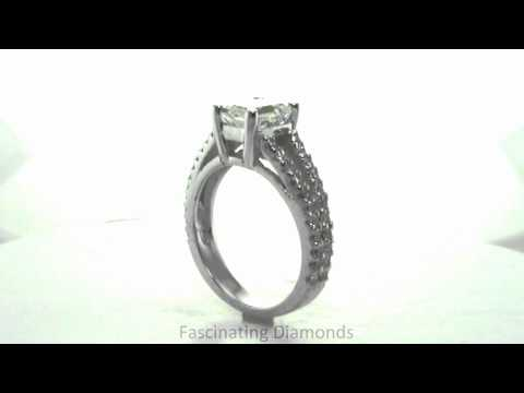 FDE2ROWDOS Emerald Cut Diamond Engagement Ring In Pave Set Split Band Ring.