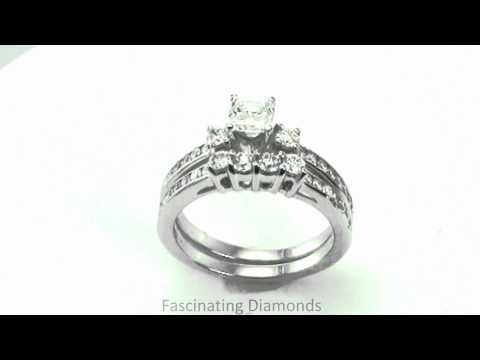 FDENS458AS Asscher Cut Diamond Three Stones Wedding Rings Set With Round Side Stones