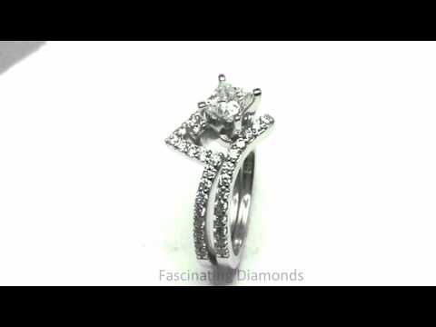 FDENS3007PR  Princess Cut Diamond Pave Set Zee Shaped Petite Wedding Bridal Ring Set
