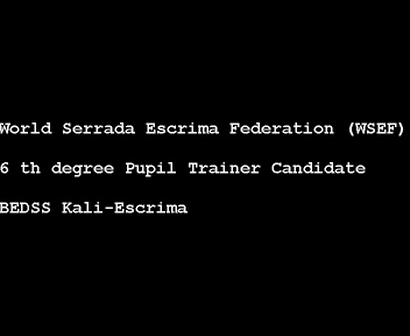 6 th degree Pupil Trainer Candidate