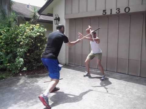 Old School Lacoste Arnis Cross Stepping Double and Single Stick Drill