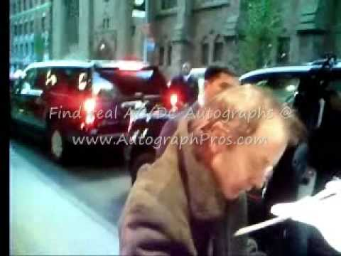 AC/DC Angus Young Signs Autographs outside his hotel in New York, NY.