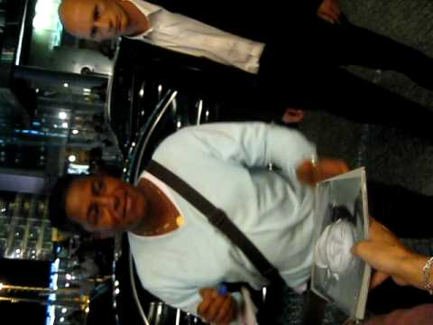 Michael Jackson's brother Jermaine Jackson signing autographs