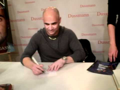 "Andre Agassi signing autographs at ""Dussmann"" in Berlin"