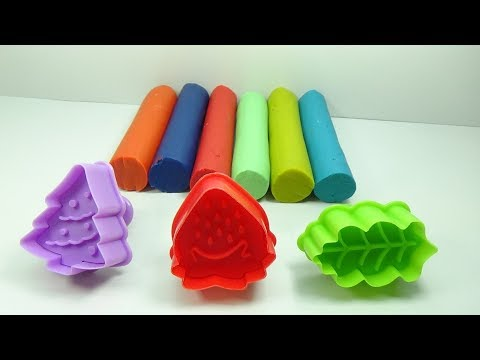 Learning Colours with Play Doh Christmas Tree Strawberry Leaf Peppa Pig Molds Fun Creative for Kids