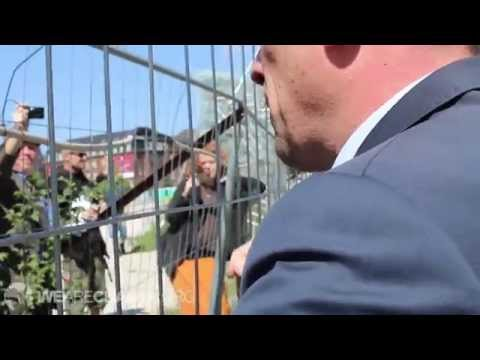 Bilderberg Member Talks to Protesters about War with Russia?