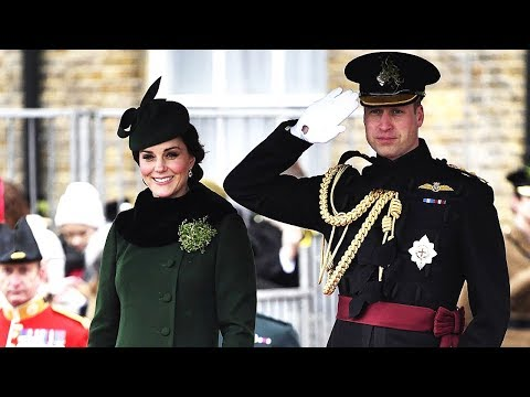 Kate and Prince William present Irish Guards traditional St Patrick's Day shamrocks