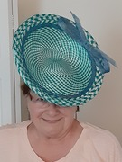 teal checked hat