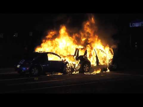 Two cars on fire after colliding on Route 145 in Whitehall, Pennsylvania