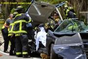Melbourne Fire Department extricate MVC patient