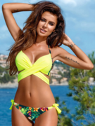 Women's Colorful Crisscross Halter Push Up Two Piece Swimsuit