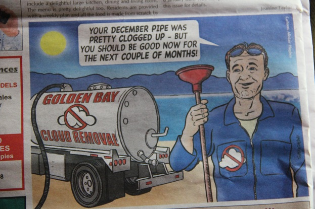 THEY LEFT OUT THE MASSIVE CHEMTRAILS. CARTOON. GOLDEN BAY WEEKLY .NZ.FRIDAY 4TH JAN . 2019
