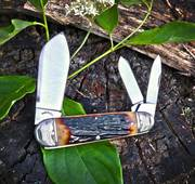 2020 Tuna Valley - Sunfish Whittler - Amber Stag w/ Embellished Bolsters