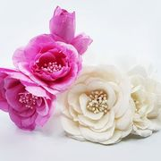 Beige and pink silk flower haircombs