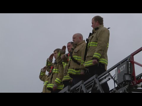 Fire Departments Pay Tribute to Fallen Iowa Firefighter