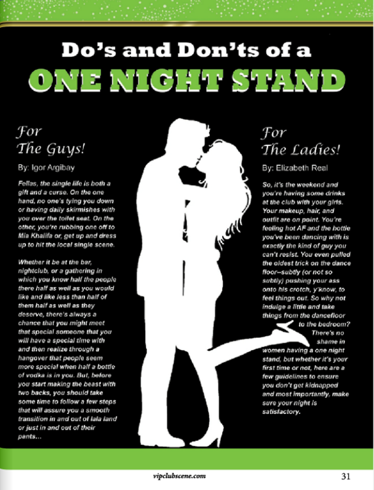 Do's and Don'ts of a ONE NIGHT STAND