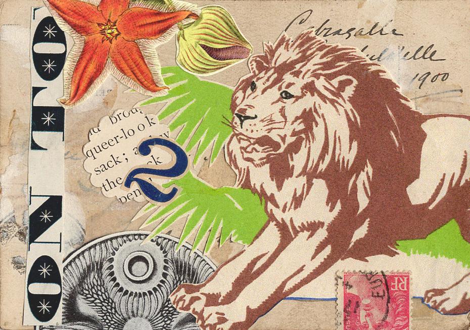 n nosegay mail art collage, july 2020 (back)